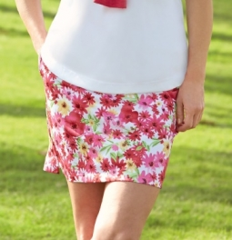 "CLEARANCE Greg Norman Ladies 18"" Floral Print Knit Golf Skorts - Pretty in Pink (White)"