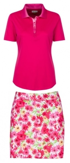 Greg Norman Ladies & Plus Size Golf Outfits (Shirt & Skort) - Pretty in Pink (Pink Orchid/Floral)