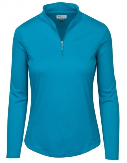 SALE Greg Norman Ladies Zip L/S Tulip Neck Golf Shirts - BELIZE (Peacock) Fall 2018