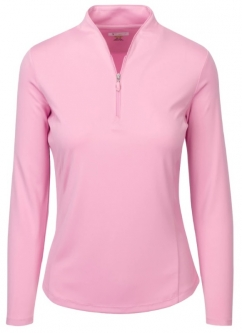 SALE Greg Norman Ladies Zip L/S Tulip Neck Golf Shirts-DYNASTY (Pink Ice) Fall'18