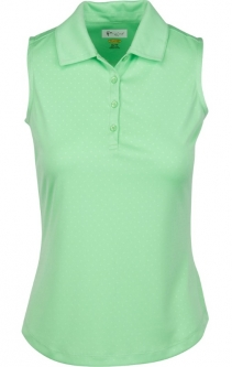 CLEARANCE Greg Norman Ladies Embossed Dot S/L Golf Polo Shirts-ESSENTIALS (Asstd. Colors)Spring 2018