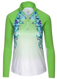 SALE Greg Norman Ladies Solar XP GradientButterfly L/S ¼-Zip Golf Shirts-FreshApple(Spring'19)