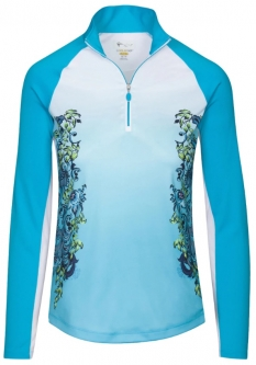 SALE Greg Norman Ladies SolarXP EngineeredFloral L/S ¼-Zip Golf Shirts-CaribbeanSea(Spring'19)