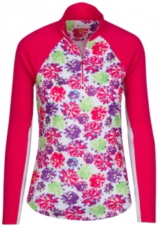SALE Greg Norman Ladies & Plus Size Solar XP Peony L/S ¼-Zip Golf Shirts - Sangria Red (Spring'19)