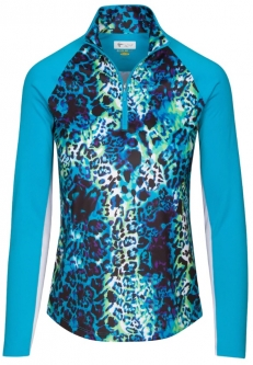 CLEARANCE Greg Norman Ladies Solar XP Wild Leopard L/S ¼-Zip Golf Shirts - Caribbean Sea (Spring'19