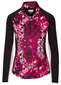 SPECIAL Greg Norman Ladies Solar XP Wild Leopard L/S ¼-Zip Golf Shirts - Sangria Red (Spring'19)
