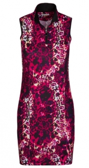 CLEARANCE Greg Norman Ladies Wild Leopard Sleeveless Golf Dress - Sangria Red (Spring 2019)