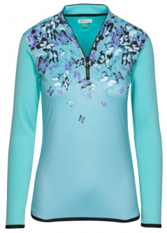 SALE Greg Norman Ladies ML75 Soar L/S ¼-Zip Golf Shirts- BUTTERFLY EFFECT (Cool Mint)Spring'19