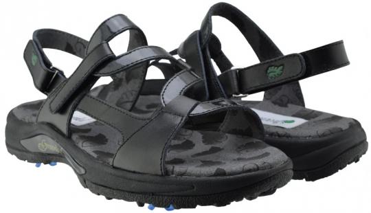b2b774c5c6461f Greenleaf Sport Ladies 2-Strap Spiked Golf Sandals - Black Crystal Black