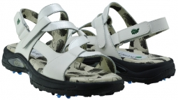 Greenleaf Sport Ladies 2-Strap Spiked Golf Sandals - White/Crystal White