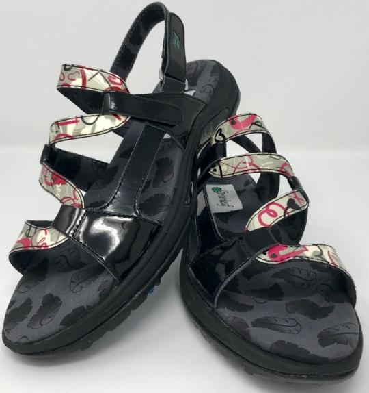 38035ec66bdd5b Lori s Golf Shoppe  Greenleaf Sport Ladies 2-Strap Spiked Golf Sandals -  Patent Black