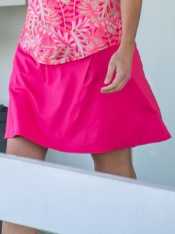 CLEARANCE JoFit Ladies & Plus Size Paneled Swing (Long) Pull On Golf Skorts - Pink Lady (Hibiscus)