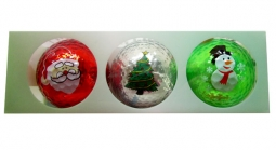 Navika Christmas Holiday Imprinted Metallic Golf Balls (3-Pack) - Christmas Assortment