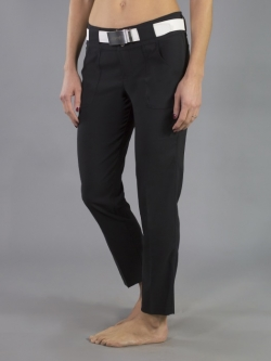 "JoFit Ladies 28"" Inseam Belted Cropped Golf Pants - Sangria (Black)"