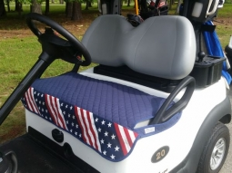 GolfChic Bags Ladies Golf Cart Seat Covers - Navy Quilt w/ Stars & Stripes