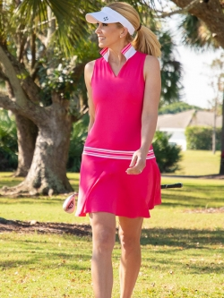 JoFit Ladies Ribbed Golf Dresses - Pink Lady (Hibiscus)