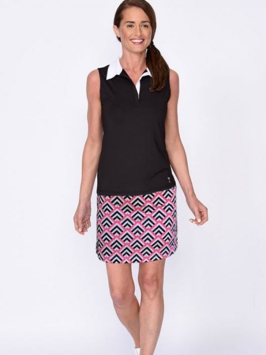 637ae6d2b84 Lori s Golf Shoppe  Golftini Ladies   Plus Size Golf Outfits (Sleeveless  Shirt   Skort) - Black   Hot Pink Black White