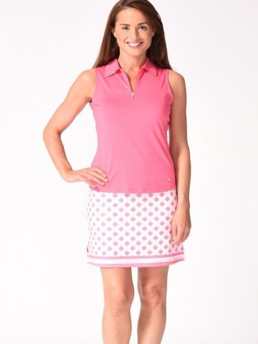 Golftini Ladies & Plus Size Golf Outfits (Sleeveless Shirt & Skort) - Hot  Pink & White/Pink