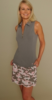 Golftini Ladies & Plus Size Golf Outfits (Shirt & Skort) - Grey/Camo Pink Print