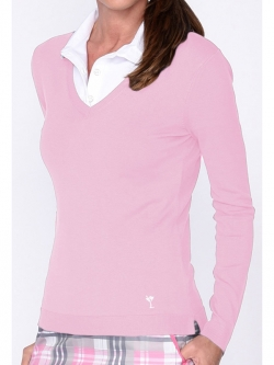 Golftini Ladies Long Sleeve V-Neck Golf Sweaters - Light Pink