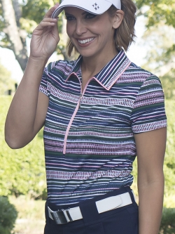 JoFit Ladies & Plus Size Short Sleeve Tipped Golf Polo Shirts - Paloma (Aurora Stripe)