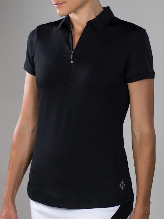 0fa3001914ee48 JoFit Ladies Short Sleeve Performance Golf Polo Shirts - Sangria (Black)