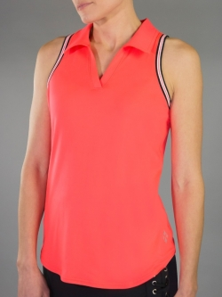 JoFit Ladies & Plus Size Rewind Cut Away Sleeveless Golf Polo Shirts - Daiquiri (Calypso)