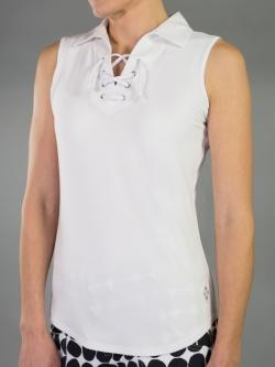 e4094d6a0ace1d JoFit Ladies   Plus Size Lace-Up Sleeveless Golf Polo Shirts - Madras (White