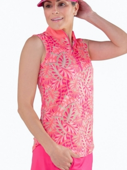 CLEARANCE JoFit Ladies Sleeveless Golf Mock Shirts - Pink Lady (Tropical Leaf Print)
