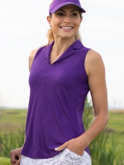 JoFit Ladies Sleeveless Center Seam Cutaway Golf Polo Shirts - Sierra (Purple Mist)