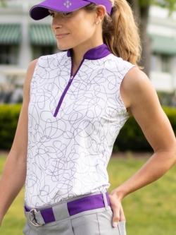 JoFit Ladies Sleeveless Golf Mock Shirts - Sierra (Sierra Swirl)
