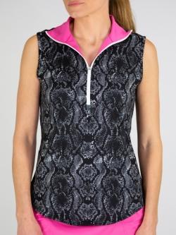 ad3bd8a5ac1 JoFit Ladies   Plus Size Sleeveless Foldover Golf Mock Shirts - Venom  (Snake ...
