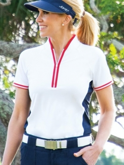JoFit Ladies Short Sleeve Interval Raglan Golf Mock Shirts - Cape May (White)
