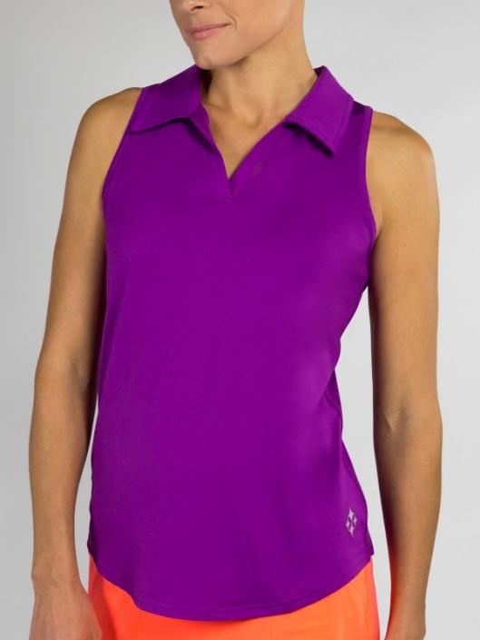 4416eb2346d022 SPECIAL JoFit Ladies Tech Cutaway Sleeveless Golf Polo Shirts - Mimosa  (Dizzy)
