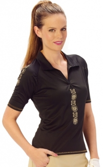 CLEARANCE Nancy Lopez Ladies & Plus Size Attract Half Sleeve Golf Shirts - Black