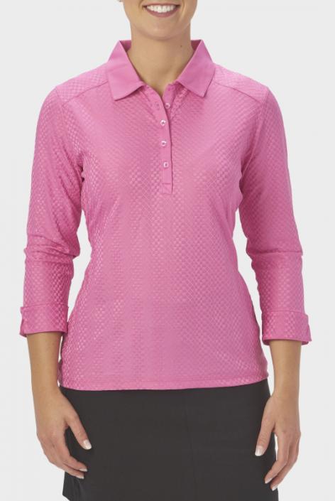 Nancy Lopez Ladies & Plus Size GRACE 3/4 Sleeve Golf Polo Shirts -  ESSENTIALS (Assorted Colors)