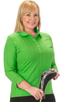 Nancy Lopez Ladies & Plus Size 3/4 Sleeves Golf Polo Shirts - Grace (Assorted Colors)