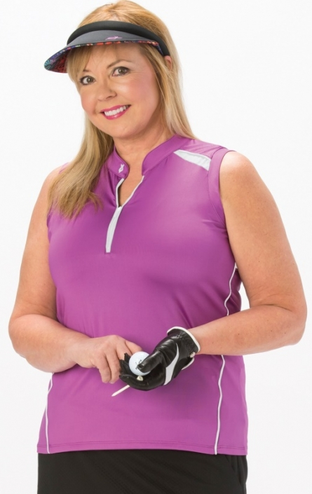 25e388a13ed SALE Nancy Lopez Women s Plus Size Sporty Sleeveless Golf Polo Shirts - Hot  Pink White