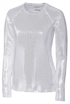 Annika Ladies & Plus Size Long Sleeve Solar Guard Golf Shirts - Silver