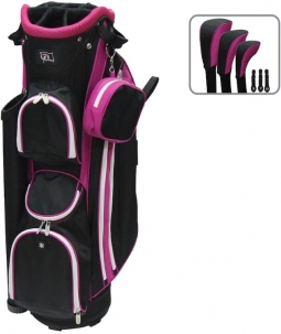 "RJ Sports Ladies LB-960 9"" Golf Cart Bags - Black / Hot Pink"