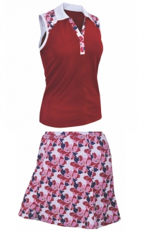 Monterey Club Ladies & Plus Size Golf Outfits (Sleeveless Shirt & Skort) - Red/Navy/White