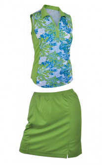 Monterey Club Ladies & Plus Size Golf Outfits (Sleeveless Shirt & Skort) - Parrot Green/Algiers Blue
