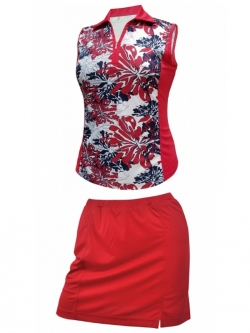 Monterey Club Ladies & Plus Size Outfits (Shirt & Skort) - Red/Navy/White & Red