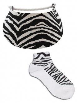 Miracle Lace Ladies Golf Visor & On the Tee Socks Combos - Zebra