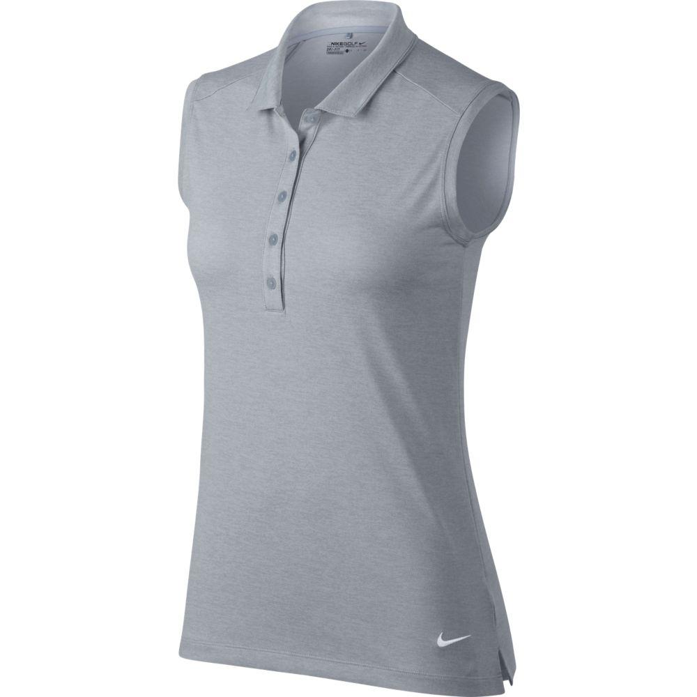 8e01deeb CLEARANCE Nike Ladies Dry Polo Sleeveless Heather Golf Shirts - Wolf Grey