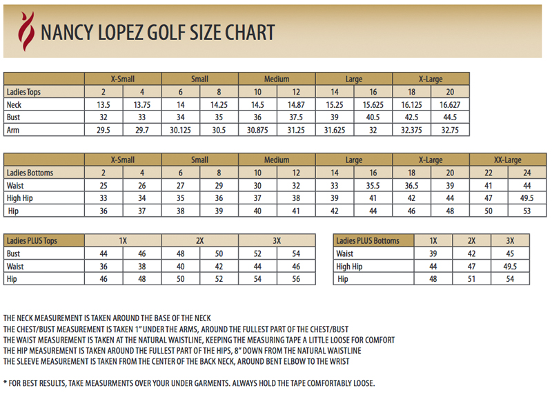 Nancy Lopez Sizing Chart