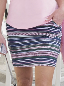 JoFit Ladies & Plus Size Mina Pull On Long Golf Skorts - Paloma (Aurora Stripe)