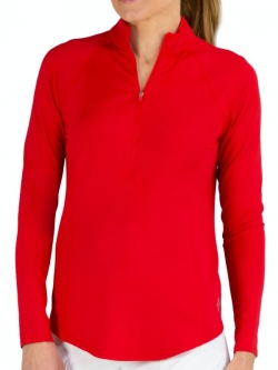 JoFit Ladies Long Sleeve Momentum Golf Mock Shirts - Cape May (Lipstick)