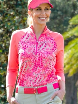 CLEARANCE JoFit Ladies 3/4 Sleeve Golf Mock Shirts - Pink Lady (Tropical Leaf Print)