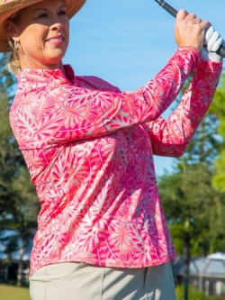 CLEARANCE JoFit Ladies Long Sleeve UV Golf Mock Shirts - Pink Lady (Tropical Leaf Print)
